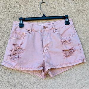 Pacsun pink distressed cotton shorts hi rise 26